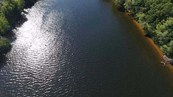 Aerial Drone Footage Looking Down on Boat on Merrimack River Royalty Free Stock Drone Video Footage