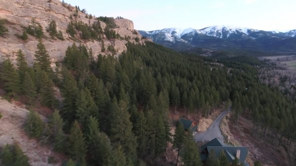 4K Aerial Drone Video of Montana Mountain and Trees Royalty Free Stock Drone Video Footage