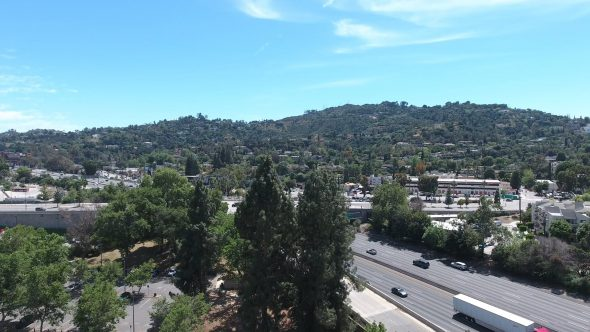 Aerial Drone Footage of Valley View of Hollywood Hills