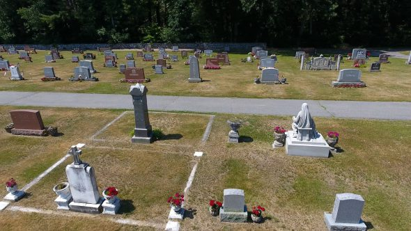 Drone Shot Pan Left of Small Town U.S. Cemetery Royalty Free Stock Drone Video Footage