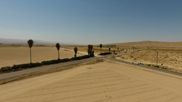 Aerial Drone Footage of Desert Intersection in Taft, Kern County, CA