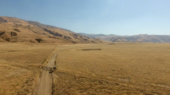 Aerial Drone Footage of Golden Fields and Mountains in CA