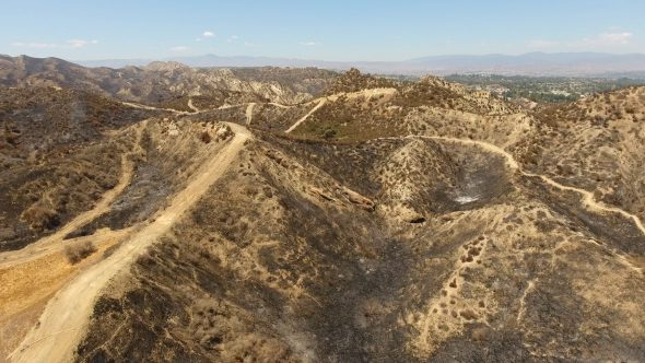 Aerial Drone Rising Footage of Santa Clarita Burned Hills