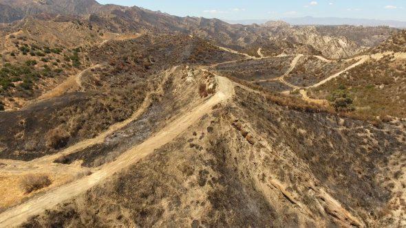 Aerial Drone Footage of Burned Hills in Santa Clarita, CA