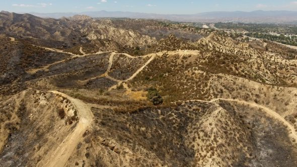 Aerial Drone Fly In Footage of Santa Clarita Burned Hills