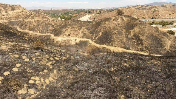 Aerial Drone Shot of Santa Clarita, CA Burned Hills