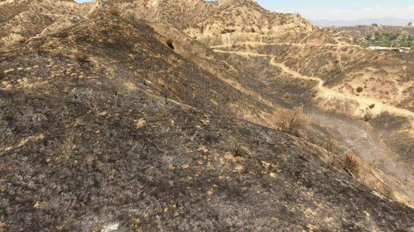 Aerial Drone Footage of Santa Clarita Burned Hills near Freeway
