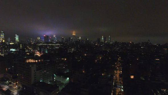 Aerial Drone Footage of NYC at Night