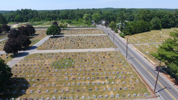 High Drone Shot of Small Town U.S. Cemetery Royalty Free Stock Drone Video Footage