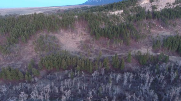 4K Aerial Drone Footage of Montana Mountain at Dusk