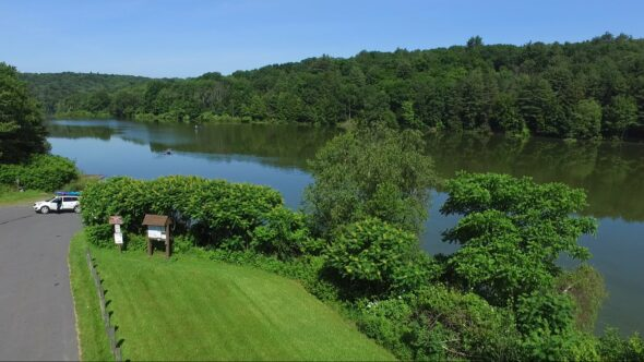Aerial View #4 of Frances Slocum Lake in Kingston Twp PA