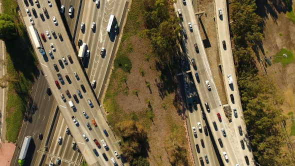 Drone Video Pan Up of Heavy Los Angeles Traffic Royalty Free Stock Drone Video Footage