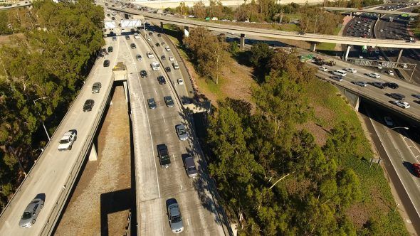 Drone View of LA Traffic – 134 and 5 Freeway Interchange in Rush Hour