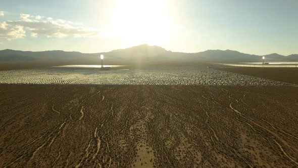 Aerial Drone Video Zoom Into Crescent Dunes Solar Farm in Las Vegas Nevada Royalty Free Stock Drone Video Footage