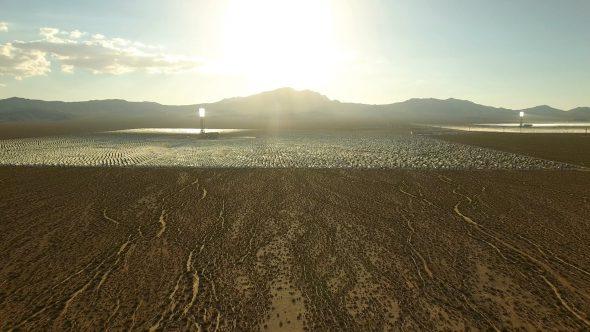 Aerial Drone Video Zoom Into Crescent Dunes Solar Farm in Las Vegas Nevada