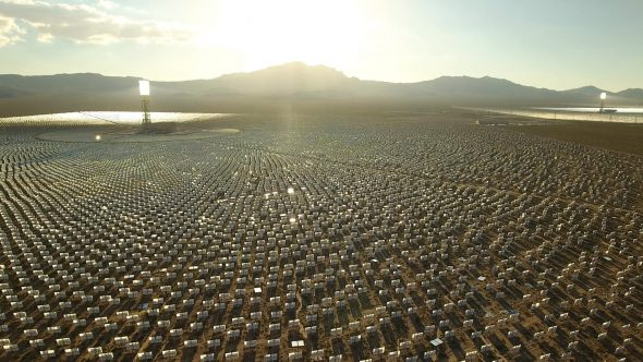 Aerial Drone Shot Zoom Into Crescent Dunes Solar Farm in Las Vegas Nevada 2 Royalty Free Stock Drone Video Footage