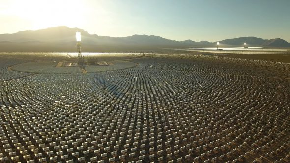 Drone Shot Zoom In Over Crescent Dunes Solar Farm in Las Vegas Nevada Royalty Free Stock Drone Video Footage