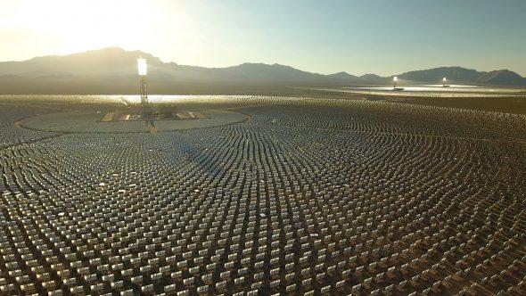 Drone Shot Zoom In Over Crescent Dunes Solar Farm in Las Vegas Nevada