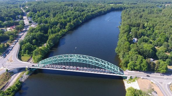 Aerial Drone Footage Looking Down on Merrimack River with Tyngsborough Bridge