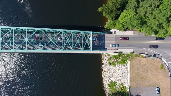 Aerial Drone Video Looking Straight Down on A Bridge