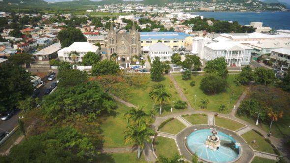 Caribbean Courtyard Ocean Royalty Free Stock Drone Video Footage