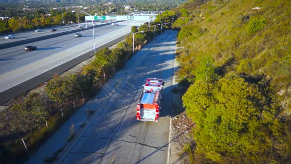 Fire Truck Chase Royalty Free Stock Drone Video Footage