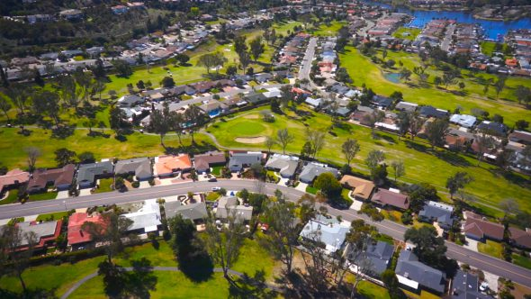 Suburban Golf Course Glide Royalty Free Stock Drone Video Footage