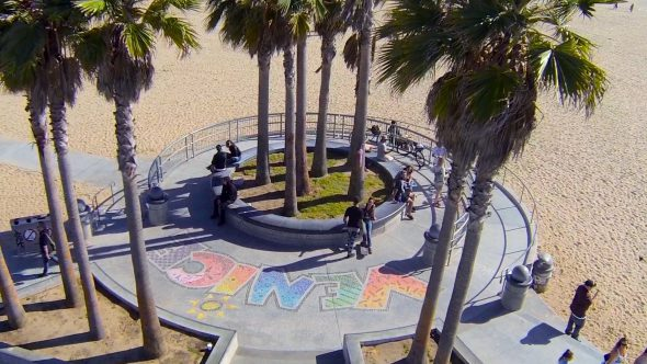 Venice Skate Park Flyby Royalty Free Stock Drone Video Footage