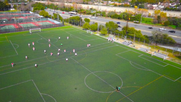 Soccer Fly Up Royalty Free Stock Drone Video Footage
