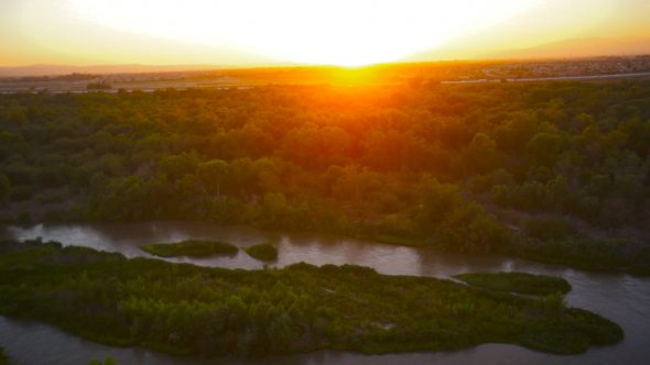 River Sunset Pan Royalty Free Stock Drone Video Footage
