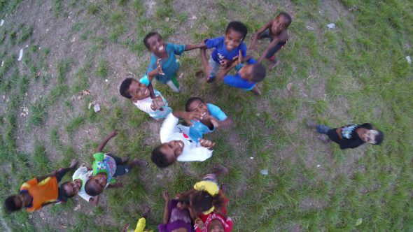 Papua Village Soccer 4 Royalty Free Stock Drone Video Footage