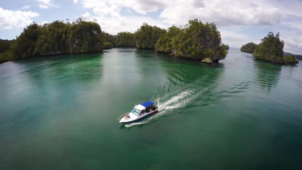 Boat Islands 5 Royalty Free Stock Drone Video Footage
