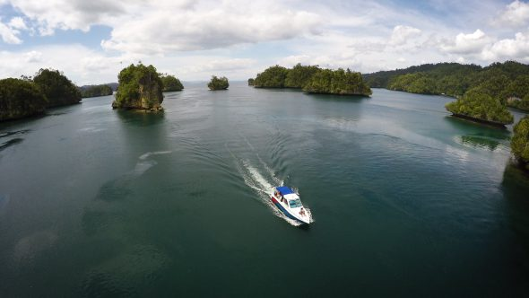 Boat Islands 3 Royalty Free Stock Drone Video Footage