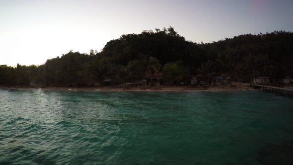 Papua Village Kids Dock 2 Royalty Free Stock Drone Video Footage