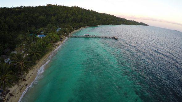 Papua Village Kids Dock 11 Royalty Free Stock Drone Video Footage