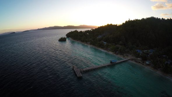 Papua Village Kids Dock 8 Royalty Free Stock Drone Video Footage