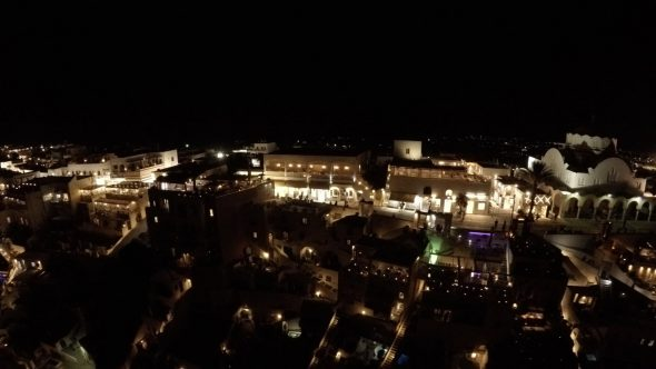 Santorini Night Time Zoom Out Royalty Free Stock Drone Video Footage
