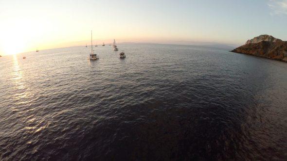 Santorini Ocean Ship Reveal Royalty Free Stock Drone Video Footage