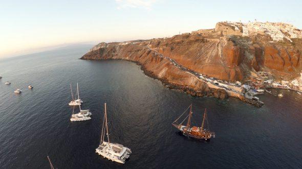 Santorini High Altitude Descend Royalty Free Stock Drone Video Footage