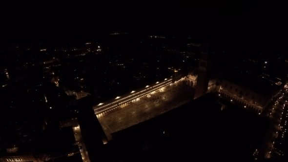 Venice Courtyard Night Royalty Free Stock Drone Video Footage