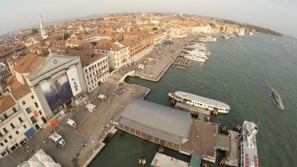 Venice Vivaldi Church Backward fly by Royalty Free Stock Drone Video Footage