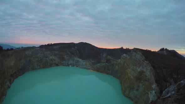 Kelimutu Volcano Indonesia 2 Royalty Free Stock Drone Video Footage
