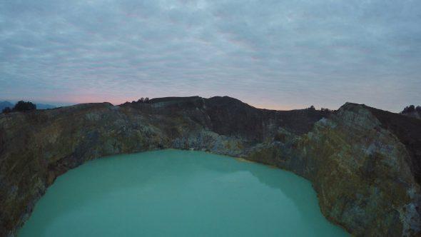 Kelimutu Volcano Indonesia 3 Royalty Free Stock Drone Video Footage
