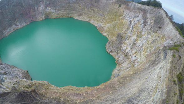 Kelimutu Volcano Indonesia 16 Royalty Free Stock Drone Video Footage