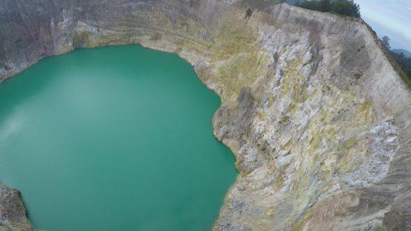 Kelimutu Volcano Indonesia 17 Royalty Free Stock Drone Video Footage