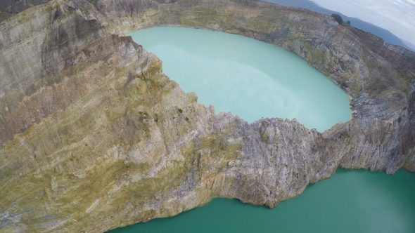 Kelimutu Volcano Indonesia 18 Royalty Free Stock Drone Video Footage