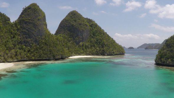 Raja Ampat Islands 3 Royalty Free Stock Drone Video Footage