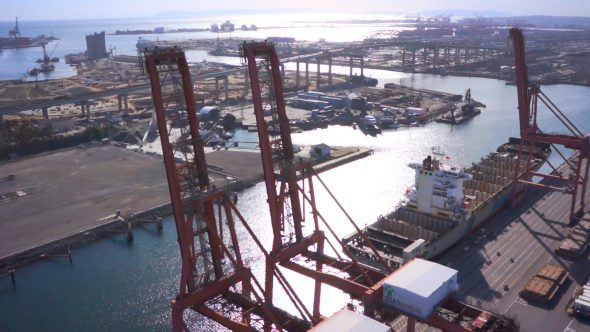 Crane Circle Royalty Free Stock Drone Video Footage
