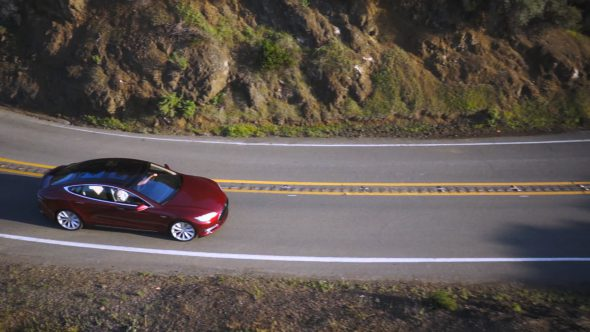 Tesla Drive I Royalty Free Stock Drone Video Footage