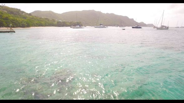 Sailboats in Harbor Bequia Royalty Free Stock Drone Video Footage
